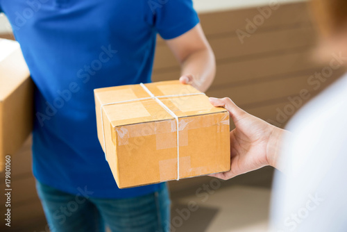 Fotografia, Obraz  Delivery man delivering a parcel to a woman