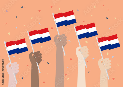 Hands Holding Up Netherlands Flags Canvas Print