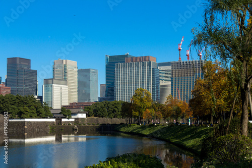 Wall Murals Place of worship Tokyo central city in autumn / Fall scenery around the Imperial Palace in the central of Tokyo,Japan
