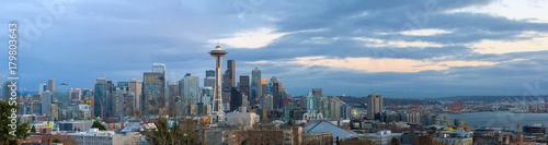 Seattle City Skyline at Dusk Panorama in Washington state USA © David Gn