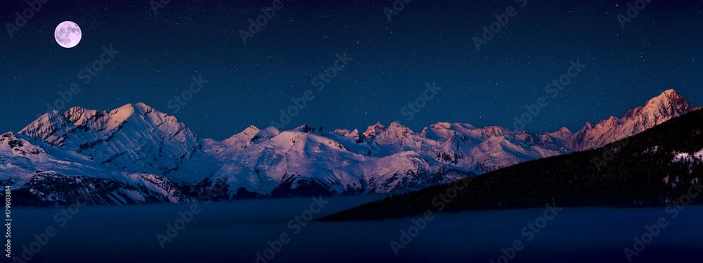Fototapety, obrazy: Scenic panorama sunset landscape of Crans-Montana range in Swiss Alps mountains with peak in background, Crans Montana, Switzerland.