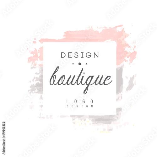 Boutique design logo, badge for fashion clothes shop, beauty salon or cosmetician watercolor vector Illustration Wall mural