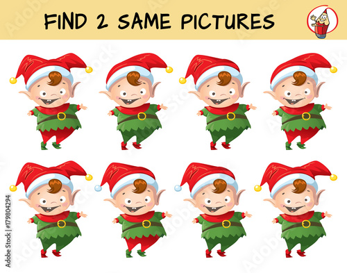 Funny Christmas elf. Find two same pictures. Educational matching ...
