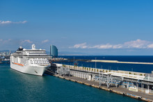 Cruise Ship In Port Of Barcelo...