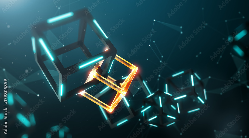 Fototapeta Blockchain technology with abstract background