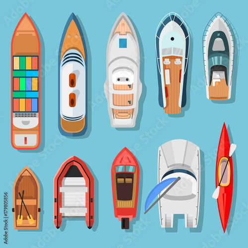 Ships and boats top view - Buy this stock vector and explore similar