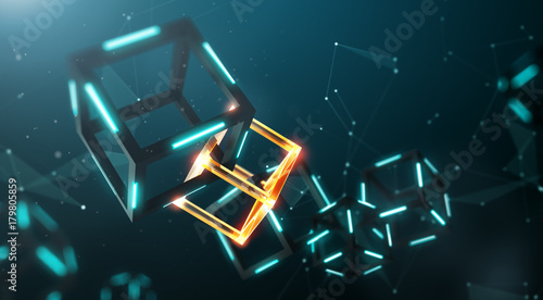 Papel de parede  Blockchain technology with abstract background