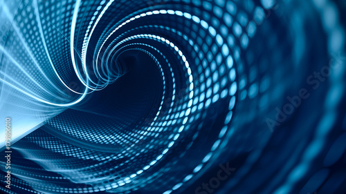 Poster Fractal waves Abstract blue background element on black. Fractal graphics. Three-dimensional composition of glowing lines and mosaic halftone effects. Wide format high resolution image.