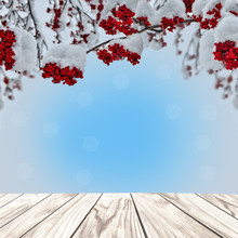 Christmas Background With Wooden Planks And Red Rowan Berries