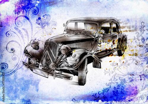 Naklejka premium stary klasyczny samochód retro vintage