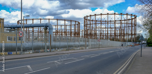 Photo  Old gasometers at Bromley by Bow, East London