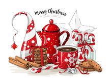 Christmas Still-life, Red Tea ...