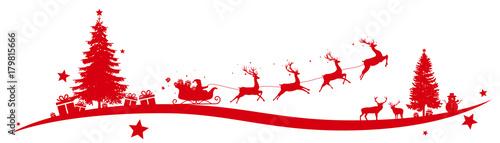 Obraz Christmas border with flying sleigh - fototapety do salonu