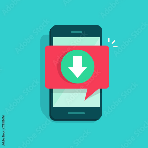 Fotografía Mobile phone with downloading and bubble speech notification vector illustration