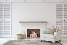 Interior With Fireplace. 3d Re...