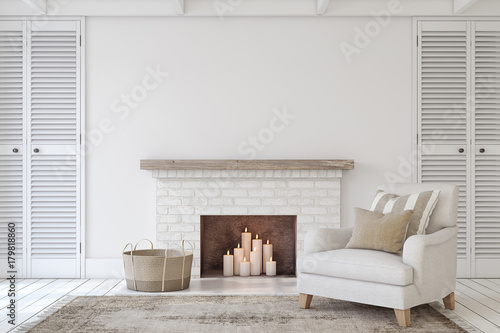 Canvastavla  Interior with fireplace. 3d render.