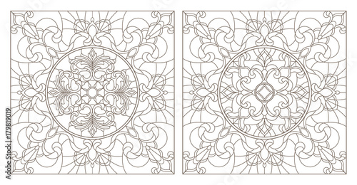 Fotografie, Obraz  Set contour illustrations of stained glass with abstract swirls and flowers , sq