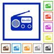 Vintage retro radio flat framed icons