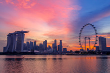 Singapore At The Pink Sunset