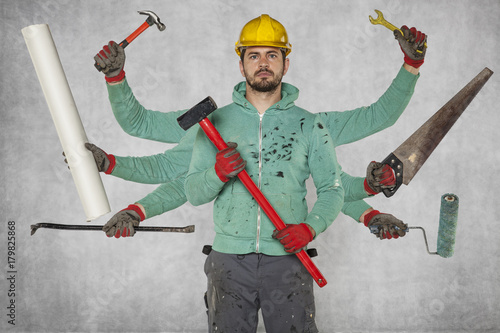 Multitasking specialist with a large number of hands and tools Wallpaper Mural