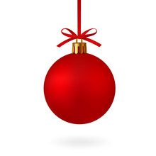 Realistic Red Christmas Ball W...