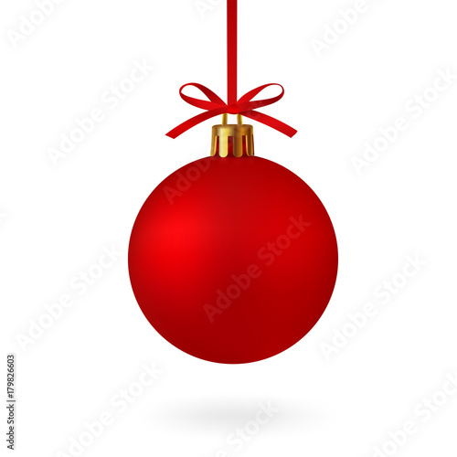 Valokuva Realistic Red Christmas ball with ribbon and bow, isolated on white background - stock vector