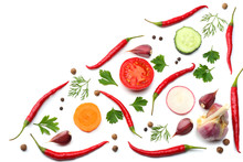 Mix Red Hot Chili Peppers With Parsley And Sliced Cucumber And Carrot Isolated On White Background Top View