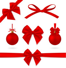 Perfect Red Realistic Set Of Decorations. Christmas Ball, Ribbon And Bow. Ability To Easily Change Color. - Stock Vector.