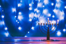 Jewish Menorah With Candles