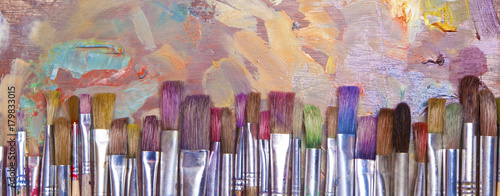 Paint Brushes Banner Canvas Print