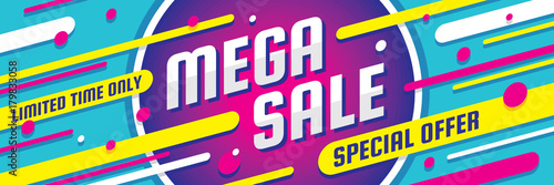 Fototapeta Mega sale discount - vector layout concept illustration. Abstract horizontal advertising promotion banner. Special offer.  obraz