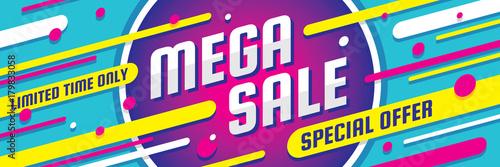Fotografía  Mega sale discount - vector layout concept illustration