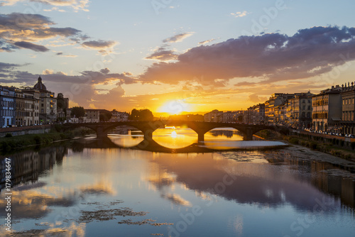 In de dag Bangkok Sunset over the Ponte Santa Trinita bridge on Arno river Florence Italy