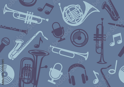 Background with wind musical instruments