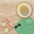 Summer vector illustration of beach towel, sandals, sunglasses and hat on sand