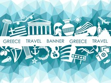 Banner On A Theme Of Travel To Greece