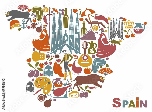 Traditional Symbols Of Spain In The Form Of A Map Buy This Stock