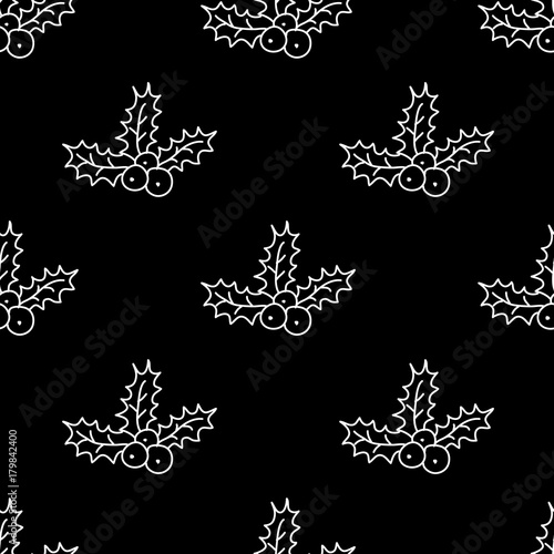 Cotton fabric  Christmas seamless pattern with wreath. Perfect design for textile design, wrapping paper, cards.