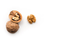 Isolated Walnuts On White Background.  Top View. Open Nut.