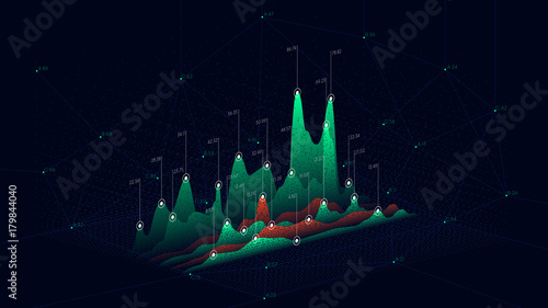 Fotografie, Obraz  Technology backdrop abstract connection dots, Futuristic infographics data graph