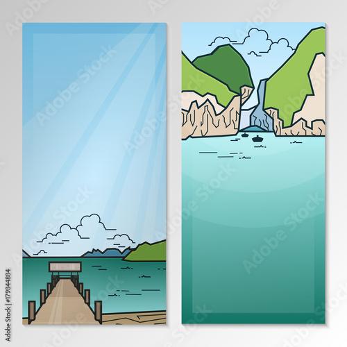 Papiers peints Piscine Nature landscape with mountains, pier and seashore. Brochure template layout.