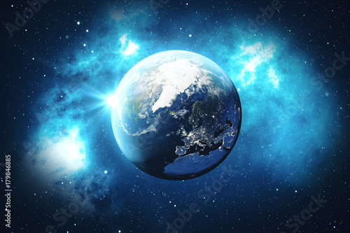 Fototapety, obrazy: 3D Rendering World Globe from Space. Blue Sunrise View From Space. Showing Night Sky With Stars and Nebula. Elements of this image furnished by NASA.