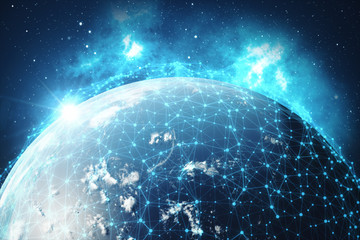 3D Rendering Global Network Background. Connection Lines with Dots Around Earth Globe. Global International Connectivity. Earth from Space With Stars and Nebula, Elements of this image furnished by