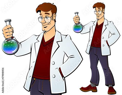 In de dag Kinderkamer Scientist with a chemical bulb.