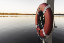 Life Perserver On A Boat Dock Near The Water