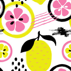 Panel Szklany Owoce Brush Grunge Lemon Seamless Pattern.