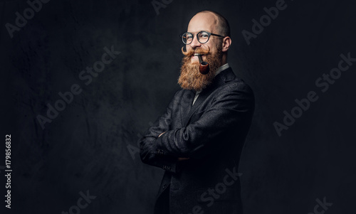 Redhead bearded male in a suit. Wallpaper Mural