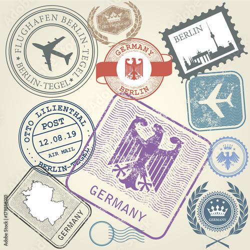 Fotografía  Travel stamps set Germany and Berlin journey