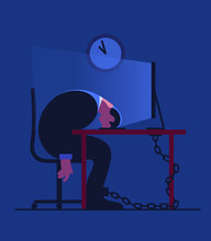 Exhausted Businessman Chained To Desk Sleeping At Night
