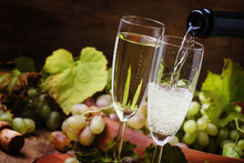 Champagne Pour In Glass, Grape...